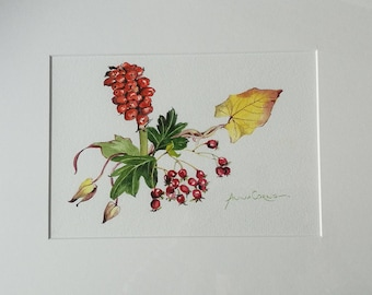 Autumn Watercolour Print - A4 - Autumn Reds