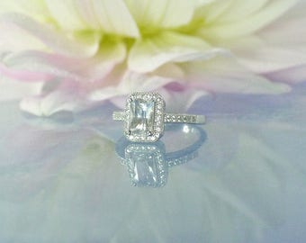 Halo Engagement Ring, Engagement Ring, Halo Ring, Halo Sterling Ring, Emerald Cut Ring,  Emerald Cut Engagement Ring, Herkimer Diamond Ring