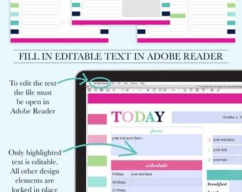 Daily Planner, Daily Schedule Planner, Daily Planner Printable Pages, Daily Planner Inserts, Day Planner, Letter Size, A4, Printable Planner