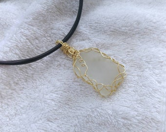 Frost white sea glass necklace. Reversible pendant. Wire wrapped bezel seaglass. Israel beach boho jewelry. Simple gift for her.
