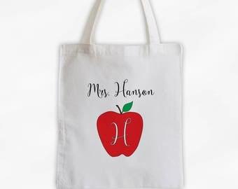 Monogrammed Apple Teachers Tote Bag Cotton Canvas - Custom Gift for Teacher, Professor, Educators, Daycare Provider (3007)