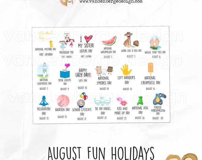 Planner Stickers - August Fun Holidays - Perfect for all planners! Wacky Holidays