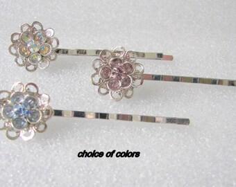 Wedding Hair Pins, Bridal Hair Pins, Bridesmaid Hair Pins, Crystal Flower Hair Pins,   Flower Girl Blue  Pink  Clear Crystal Flower Hair Pin
