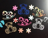 Handmade, Baby, Teddy Bears, Rocking Horses, Feet, Flowers, Sizzix, Assorted Colors, Album, Cards, Scrapbook Pages