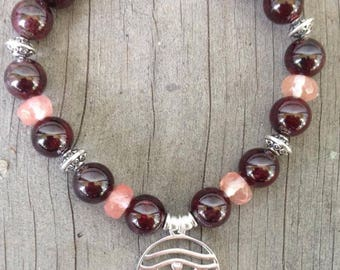 Garnet Bracelet w S Silver (or gold vermeil) Spiritual Egyptian Eye of Horus Charm