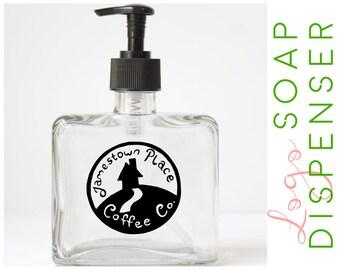Soap Dispenser with Logo - Glass Soap Pump - Dish Soap Pump - Pump Soap Dispenser - Hand Soap Pump - Glass Soap Dispenser -