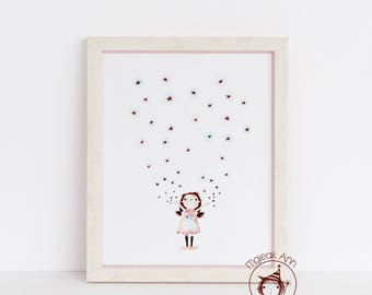 Starlight - Girl and Stars - Twinkle Twinkle- Nursery Decor - Baby girl wall art -Baby girl decor - adorable magical baby girl illustration