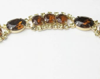 Vintage 1950's Statement BRACELET Clear Brown Round And Large Oval Cut Rhinestone Hollywood Glamour Costume Jewelry Gift For Her Best Deal