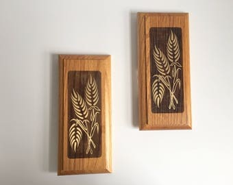 Pair of Wooden Botanical Plaques