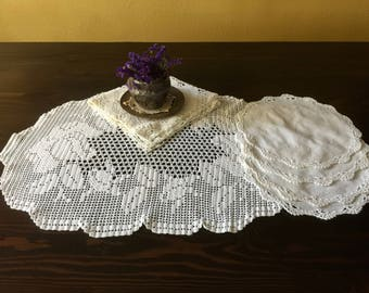 Vintage Crochet and Linen Doilies Set of 6, Vintage Home Linens, Retro Home, Vintage Table Linens, Free US Shipping