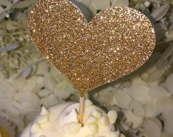 12 Gold Heart Cupcake Toppers Wedding Decorations Cake Toppers