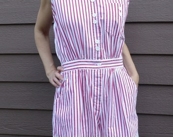 red and white STRIPED SHORTS ROMPER jumpsuit 80's 90's M
