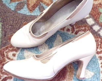 1920s 1930s IVORY LEATHER SHOES 7