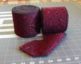 Raspberry and Black Herringbone Wool Winingas - Viking Leg-Wraps