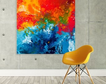 Large Canvas Print - Orange & Blue Square Canvas Print - Orange and Blue Square Abstract Canvas Picture Based on Fluid Painting