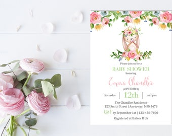 Boho Rabbit Baby Shower Invite, Printable Floral Bunny Baby Shower Invitation, Girl Invite, Roses Foral Watercolor Invite, Download 331-W