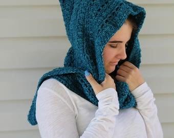Handmade Hooded Scarf, Crochet Scarf, Women or Teen, Dark Turquoise, Celtic Pattern Hoodie, Snood