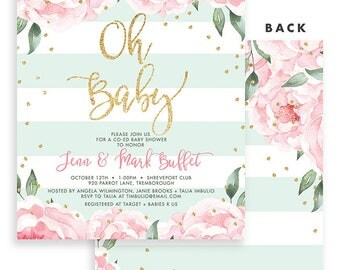 Coed Baby Shower Invitation, Gold Confetti Baby Shower Invitation, Girl Baby Shower Invitation Girl Baby Shower Invite Mint Baby Shower Jenn