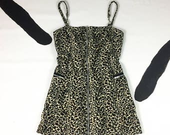 90s Fuzzy Leopard Print Spaghetti Strap Tank Dress / Faux Fur / Cheetah / Cargo Pockets / Zip Front / Large / Dogpile / Cyber / Goth / y2k