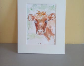 Pen and wash cow illustration, original calf watercolour, mounted bullock pen drawing, animal illustration, farm animal, cow artwork