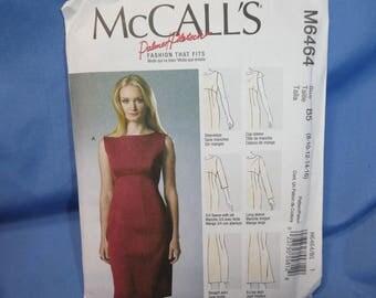 McCalls 6464, Palmer Pletsch Sewing Pattern, Fitted Sleeveless Dress, 8 - 10 - 12 - 14 - 16