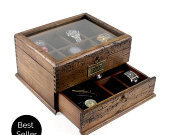 Men's Watch Box, Watch Case, Watch Box, Wood Watch Box, Watch Display, Personalized Gift, Custom Watch Box - Glass Top Box holds 12 watches.