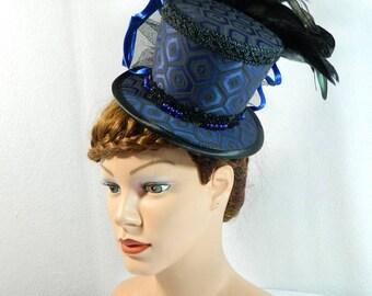 Tophat blue Minihat Fascinator Gothic Hat Burlesque Cocktail Derby Bibi Chapeau black Victorian Steampunk Bridal Hat Church Wedding