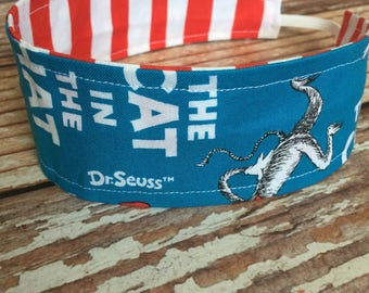 Reversible Fabric Headband - Children Toddler Girls - Cat in the Hat - Dr Seuss - READY TO SHIP