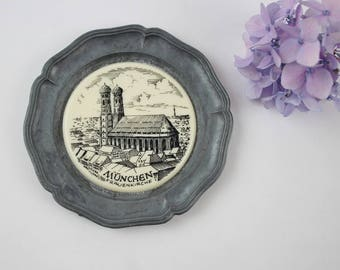 Vintage Frauenkirche Wall Plaque Plate - Cathedral of Our Dear Lady Souvenir of Munich, Germany