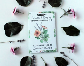 lavender & hibiscus flower bath milk sachet, heirloom seed packet inspired moisturizing bath powder