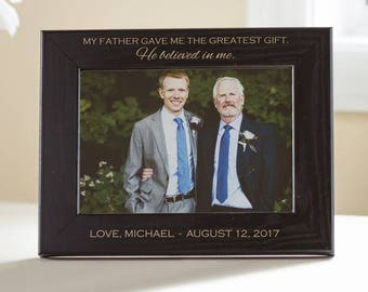 Personalized Father of the Groom Picture Frame (Black): Father of Groom Custom Engraved Gift, Custom Father of the Groom, SHIPS FAST