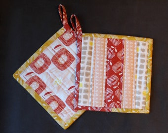 Quilted Pot holder Set, Fabric hotpads, Red, Yellow, Gray, Pink, White Potholders, trivet, Kitchen Decor, insulated