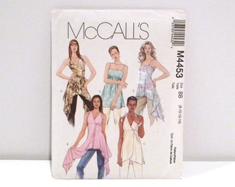 Pullover Halter Tops McCalls 4453 Sewing Pattern Size 8 10 12 14 V Neck Spaghetti Straps Faux Mock Wrap Asymmetrical Floaty Fairy Club Kid
