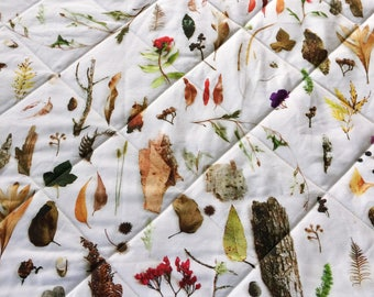 Square Botanical Play Mat Quilted Linen Cotton, Made to Order from Thistle and Fox 'Australian Bushland' Fabric