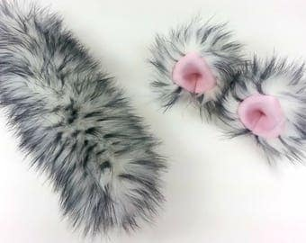 Cat Ears and Tail- Anime- Faux Fur-Halloween-Animal Costume-Cat costume-Harajuku-Mori Kei-Lolita-Cosplay-Cat Tail-Cat Ears-Cat Birthday