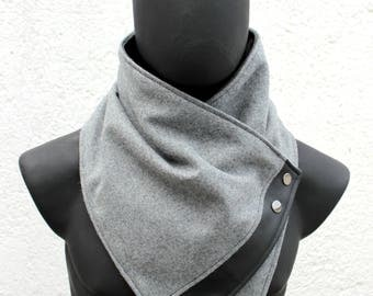 Unisex scarf. Mens and womens cowl,Oxford grey wool with faux black leather and metallic snaps.Modern and cozy.gift for men, gift for women