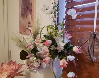 Hanging silk flower arrangement  two different hand made room decor. Pastel spring colors. 18.00 EACH