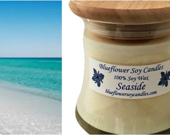 Scented Soy Candle Seaside Hand-Poured 12 oz Jar With Wood Lid