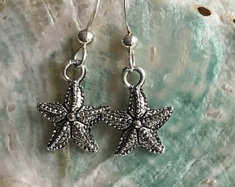 starfish earrings, beach wedding, sterling silver wire starfish earrings