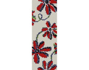 Abstract Flowers 2 Peyote Bead Pattern, Bracelet Cuff Pattern, Bookmark, Seed Beading Pattern Delica Size 11 Beads - PDF Instant Download