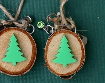 Tiny Christmas ornament, wood slice ornament, birch slice, tree slice, art on wood, round, tree, handmade, small, natural, simple