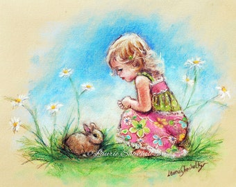 "Bunny Cute girl Rabbit Nursery wall art kids little girl print Canvas or art paper "" Baby Bunny"" Laurie Shanholtzer"