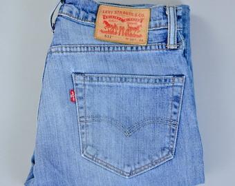 Vintage Levi 511 Jeans Slim Fit Zip Fly Blue (Patch W30 L34) W 30 L 32