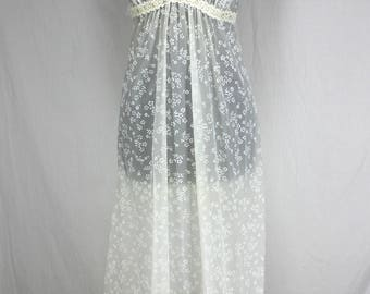 Vintage Lingerie Set Christian Dior Set Nightgown Robe White Floral NOS