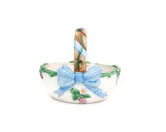 Vintage Floral Ceramic Basket The Haldon Group Ribbon Bow Pattern Strawberry Basket Candy Bowl Trinket Holder Planter Made in Japan Majolica