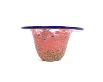 Vintage End of Day Art Glass Bowl Spatter Glass Vase Console Polished Pontil Bohemian Glass
