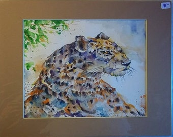 Spotted Hunter, Original Matted Watercolor