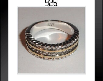 Signed Marked 925 Rope Style Band Two Tone Sterling Silver Size 6 Ring