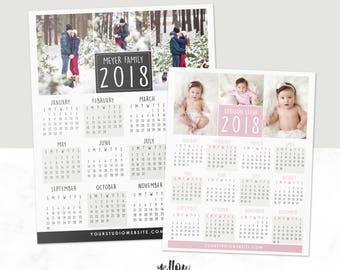 2018 Calendar - 2019 Calendar - Photoshop Template - Client Gift - Photo Calendar - Photography Gift - Wall Calendar - Photo Template