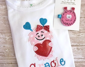 Valentines Day shirt, monster shirt, valentines day girl monster shirt, love monster shirts, heart monster shirt, pink monster shirt, 01.12